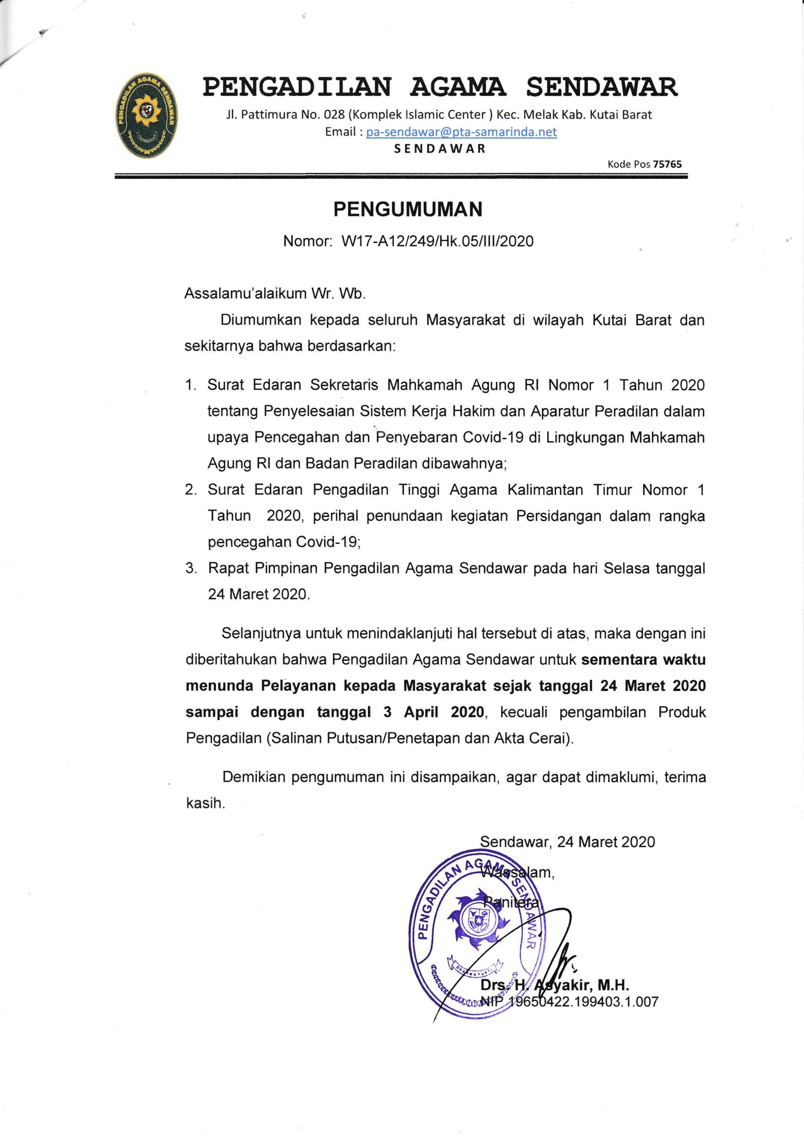 PENGUMUMAN Pencegahan & Penyebaran Covid-19.